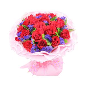 鮮花/你是我的幸福:21支紅玫瑰 配材:紫色勿忘我、梔子葉間插 花 語