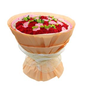 鲜花/恒久的温暖:18支粉康,32支红康 [包 装]:点状棉纸内