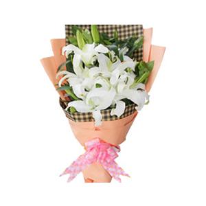鲜花/无尽的爱: 6支白色多头香水百合  [包 装]:网格皱纹