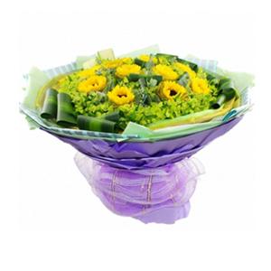 鲜花/漫天祝福 : 10支向日葵,绿色、金色2层纱网独立包装。