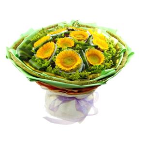 鲜花/灿烂时光: 10枝向日葵,双层独立包装  [包 装]:绿