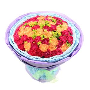 鮮花/深深的愛:32枝紅色康乃馨,20枝黃色康乃馨 包 裝:淡藍色