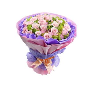 鮮花/誓言:29支戴安娜玫瑰 包 裝:深紫色卷邊紙內襯,水蜜桃