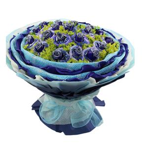 鲜花/爱到地老天荒: 21枝蓝色妖姬单独包装  [包 装]:浅蓝色