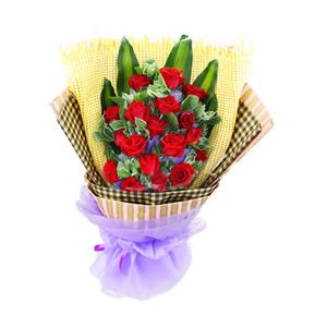 鲜花/牵手的温柔: 18支红玫瑰  [包 装]:黄色纱网内衬,格