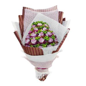 鮮花/濃情蜜意:22枝紫玫瑰單獨包裝 包 裝:白色紗網圍邊,多層白