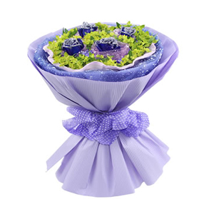 鲜花/蓝色恋人: 4枝蓝色妖姬  [包 装]:紫色网纱独立包装