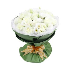 鲜花/完美爱恋: 33枝白玫瑰  [包 装]:白色羽纱内衬,绿