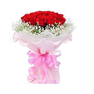 鲜花/为你着迷: 11朵红玫瑰  [包 装]:粉色卷边纸圆形精