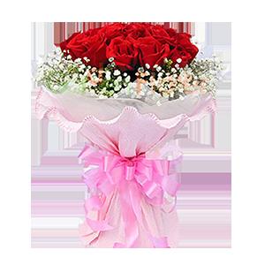 鮮花/為你著迷:11朵紅玫瑰 包 裝:粉色卷邊紙圓形精美包裝,配蝴
