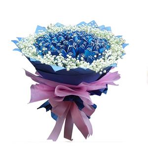 鲜花/天涯伴此生: 99枝蓝色妖姬  [包 装]:蓝色皱纹纸、粉