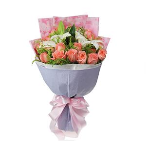 鲜花/今生的爱恋:19枝粉玫瑰、2枝白色多头香水百合 包 装:粉色印