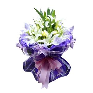 鮮花/溫馨祝愿:9枝白色多頭香水百合,6枝黃色康乃馨 包 裝:紫色