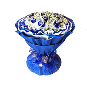 鲜花/今生今世:11枝蓝色妖姬白色纱网单独包装 包 装:淡蓝色、宝