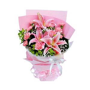 鲜花/美丽心愿: 2枝多头粉香水百合,11枝粉色康乃馨  [包