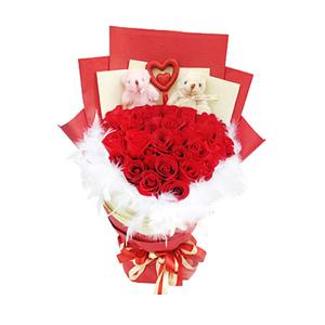 鮮花/簽約幸福:33枝紅玫瑰 包 裝:紅色、黃色手揉紙多層扇面包裝