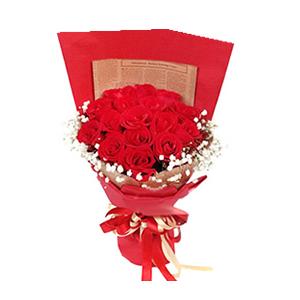 鲜花/爱如天堂: 19枝红玫瑰  [包 装]:皱纹纸扇面包装,