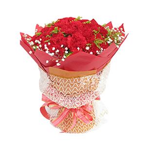 鮮花/陽光的問候:50枝紅色康乃馨 包 裝:紅色手揉紙圓形包裝,香檳