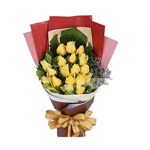 鲜花/长相厮守: 19枝黄玫瑰  [包 装]:米黄色手揉纸一张
