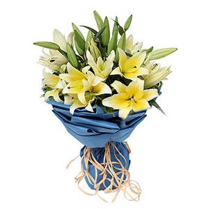 鮮花/珍惜你:9枝多頭黃色香水百合 配材:黃英間插 花 語:珍惜