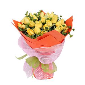 鲜花/浪漫的日子: 33枝黄玫瑰  [包 装]:桔红色手揉纸圆形