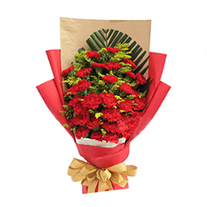 鲜花/浓浓祝福情: 33枝红色康乃馨  [包 装]:土黄色牛皮纸