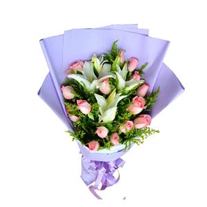 鲜花/念你: 16枝粉玫瑰,2枝多头香水百合  [包 装]