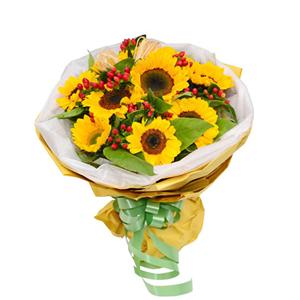 鲜花/幸福笑脸: 9枝向日葵  [包 装]:白色网纱围边,黄色