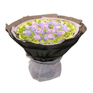 鲜花/爱的上上签: 20枝戴安娜玫瑰独立包装  [包 装]:紫色