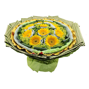 鲜花/幸福花语: 10枝向日葵独立包装  [包 装]:绿色纱网