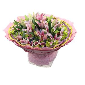 鲜花/浪漫巴比伦: 18枝多头粉色香水百合  [包 装]:紫色网
