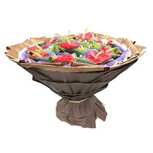 鲜花/鸿运吉祥: 10枝红掌独立包装  [包 装]:紫色网纱围
