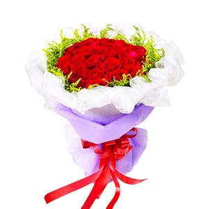 鲜花/挚爱: 50枝红玫瑰  [包 装]:白色网纱围边,紫