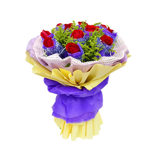 鲜花/时刻爱着你: 11枝红玫瑰独立包装  [包 装]:紫色学点