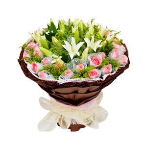 鲜花/钟情于你: 36枝粉玫瑰独立包装,6枝多头白百合  [包