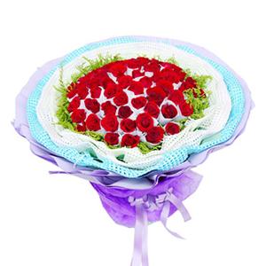 鲜花/将爱情进行到底:66枝红玫瑰独立包装 包 装:多层白色、蓝色纱网、