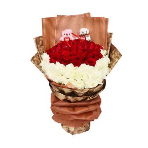 鲜花/心甘情愿:33枝红玫瑰,33枝白玫瑰,2只LOVE熊(一只粉色