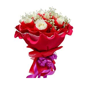 鲜花/情思: 15枝白玫瑰独立包装  [包 装]:红色棉纸
