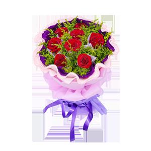 鮮花/相伴到永遠:8枝紅玫瑰獨立包裝 包 裝:淺紫色學點紙獨立包裝,