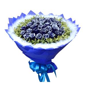 鲜花/爱上你: 36枝蓝色妖姬  [包 装]:宝石蓝色棉纸多