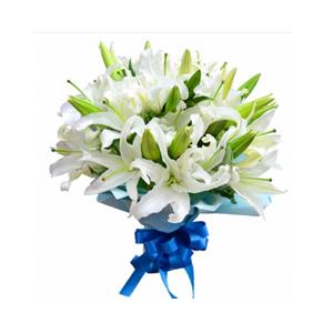 鲜花/风雨同行: 9枝白色多头香水百合  [包 装]:印花玻璃