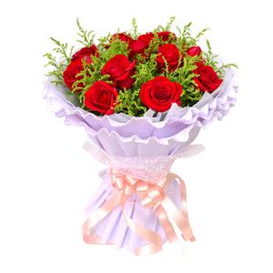鲜花/一笑倾城: 11枝红玫瑰  [包 装]:白色棉纸内衬,淡