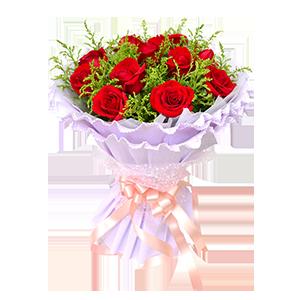 鮮花/一笑傾城:11枝紅玫瑰 包 裝:白色棉紙內襯,淡紫色卷邊紙多