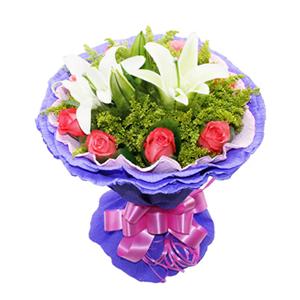 鲜花/妈妈最美: 8枝粉玫瑰,两枝白百合  [包 装]:粉色紫