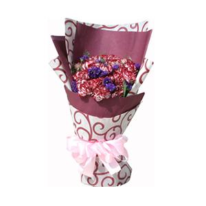 鲜花/爱比天高: 21枝暗红色花边康乃馨  [包 装]:暗红色