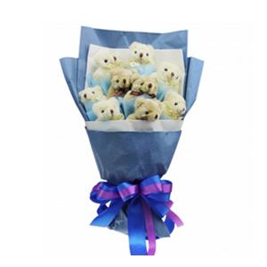卡通花束/最美的掂念(卡通花束): 9只小熊单独包装  [包 装]:深蓝色皱纹纸