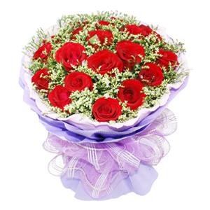 鲜花/有你的幸福: 19枝精品红玫瑰  [包 装]:粉色卷边纸内