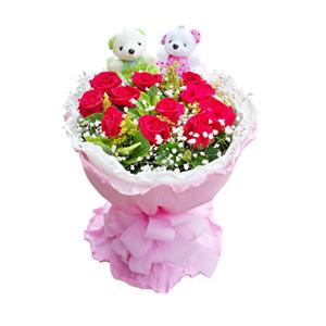 鲜花/青春盛宴: 11枝红玫瑰。  [包 装]:白色卷边纸内衬