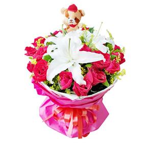 鲜花/妙龄时光: 19枝红玫瑰,3枝白百合。  [包 装]:白