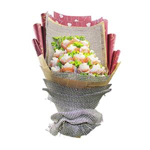 鲜花/纯洁的爱: 21枝白玫瑰独立包装  [包 装]:内层灰色